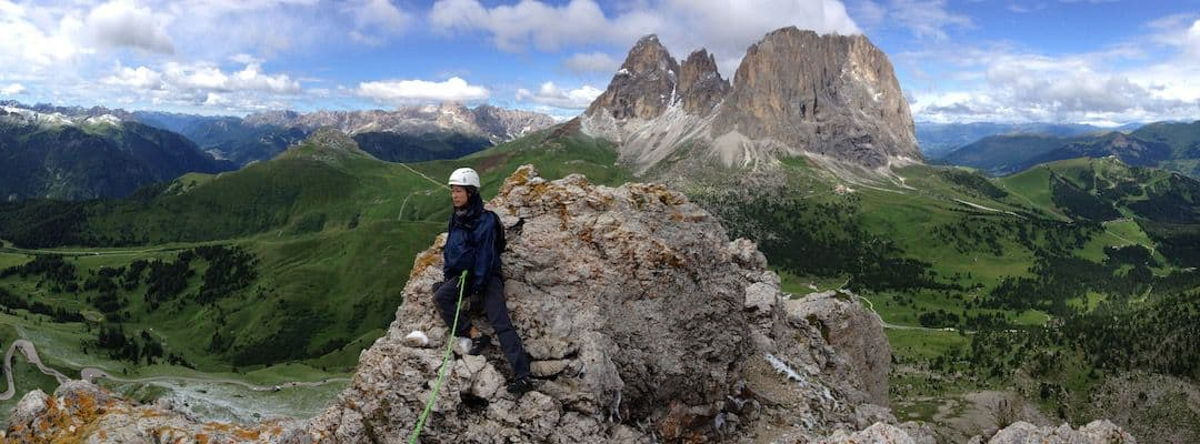 Via Ferrata Dolomites: At the top od the First Sella Tower - Sella Pass - Central Dolomites