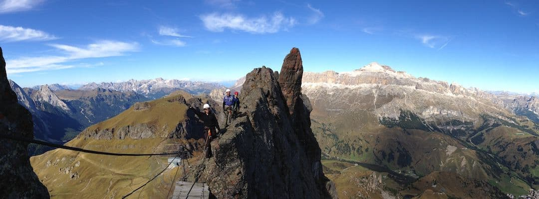 The bridge of the Via Ferrata delle Trincee - Padon - Marmolada area