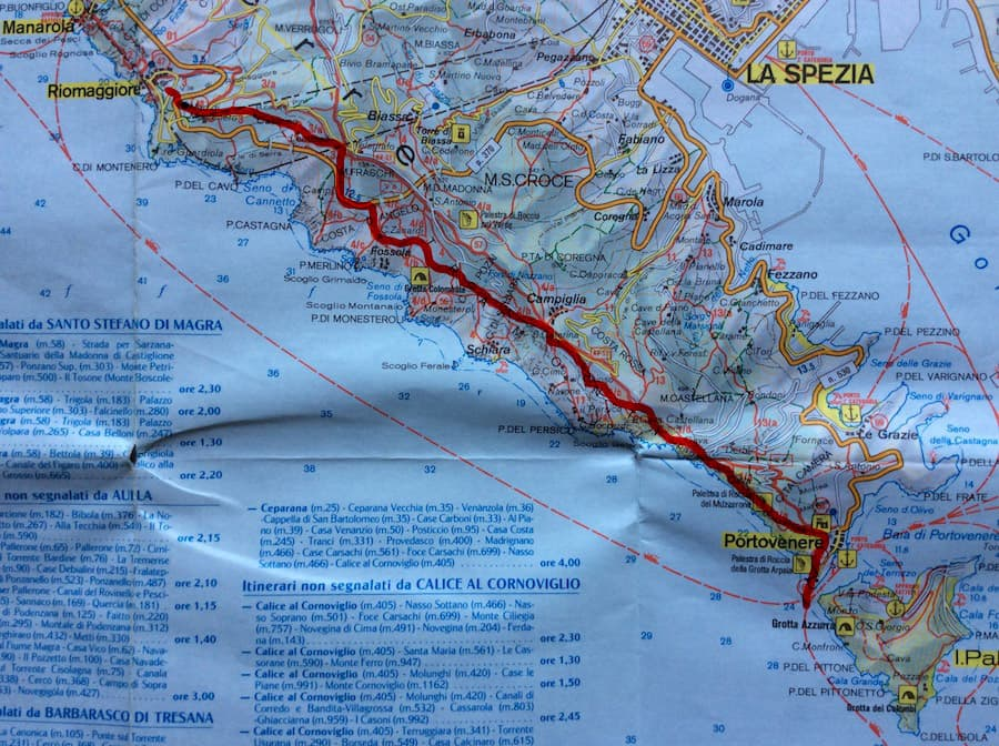 Hiking and Trekking in Cinque Terre map 3
