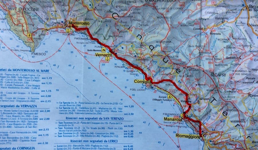 Hiking and Trekking in Cinque Terre map 2