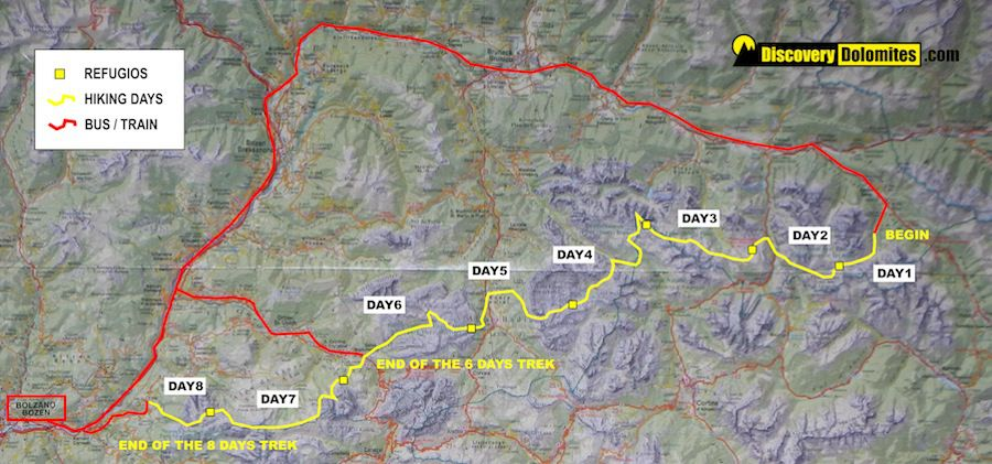 Dolomites trekking: 6 days amazing hiking tour from hut to hut on
